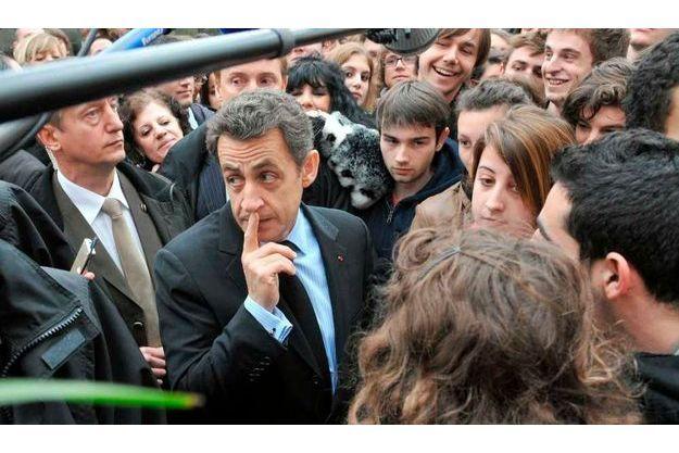 Nicolas Sarkozy au Puy-en-Velay le trois mars.