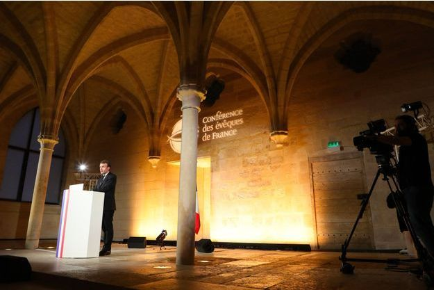 Emmanuel Macron s'adresse aux évêques de France, le 9 avril 2018.