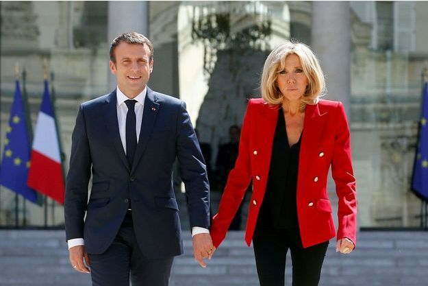 Emmanuel et Brigitte Macron à l'Elysée, le 6 juillet.