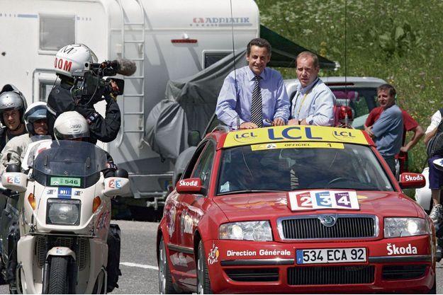 Le président Nicolas Sarkozy et Christian Prudhomme, le directeur du Tour de France, en 2007