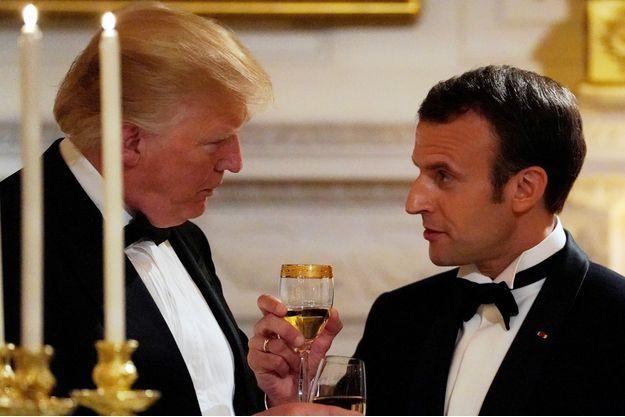Donald Trump et Emmanuel Macron lors du dîner d'Etat à la Maison blanche en avril.