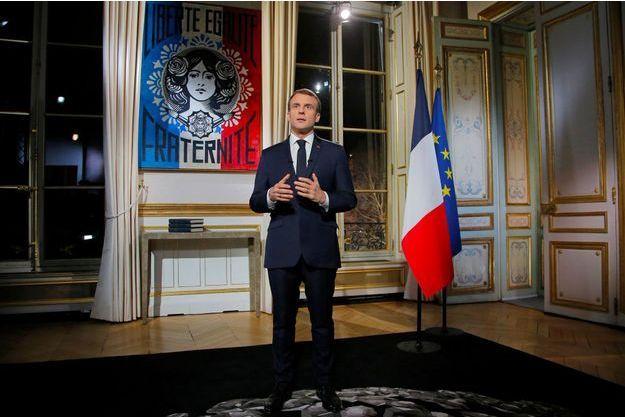 Emmanuel Macron lors de ses vœux pour l'année 2019, lundi soir.