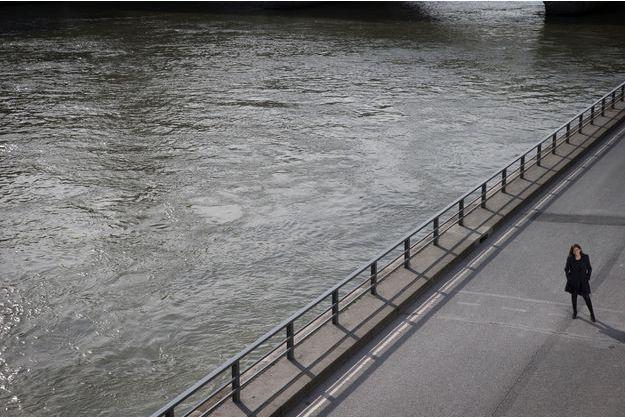 Anne Hidalgo sur les rives de la Seine, en mars 2017.