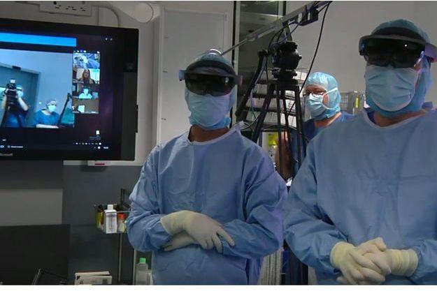 Capture d'écran de la vidéo réalisée en direct du bloc opératoire.
