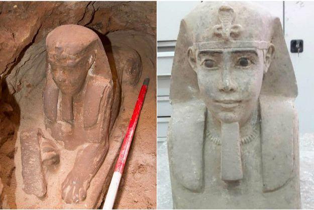 La statue de sphinx découverte à Assouan.