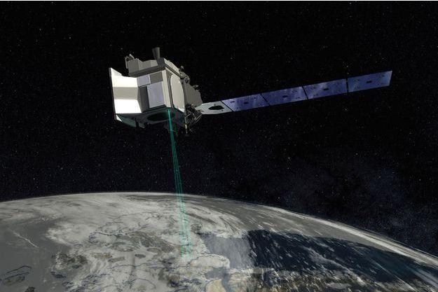 Vue d'artiste du laser ICESat-2.