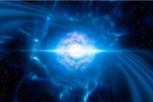 Illustration de la fusion de deux étoiles à neutrons.