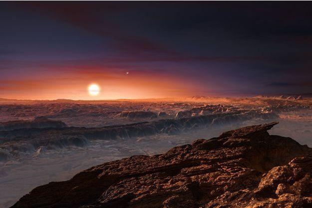 """Vue d'artiste de l'exoplanète Proxima b, une """"voisine"""" de la Terre potentiellement habitable."""