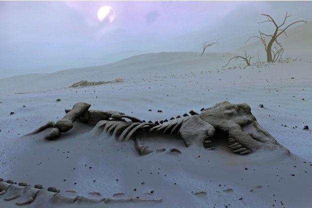 Illustration d'un squelette de T-rex.