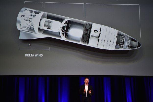Elon Musk présente sa fusée BFR en Australie en septembre 2017.
