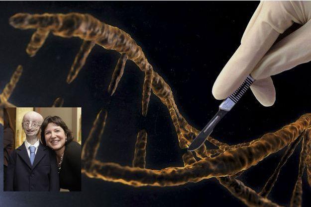 Une représentation symbolique de la façon dont fonctionne Crispr-Cas9, capable de « couper » de l'ADN. En médaillon : Sam Berns, atteint de progéria, ici à 16 ans, en 2013, au côté d'Audrey Gordon, directrice de la Progeria Foundation. Sam meurt un an plus tard.
