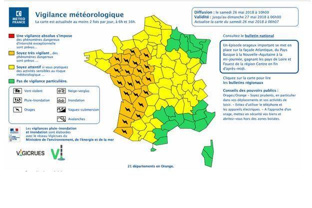 Vingt-et-un départements de l'Ouest ont été placés samedi en vigilance orange pour orages violents.