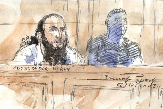 Abdelkader Merah, croqué au premier jour de son procès aux assises.