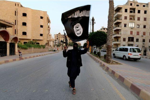 Un homme tient un drapeau de l'Etat islamique, en Irak.