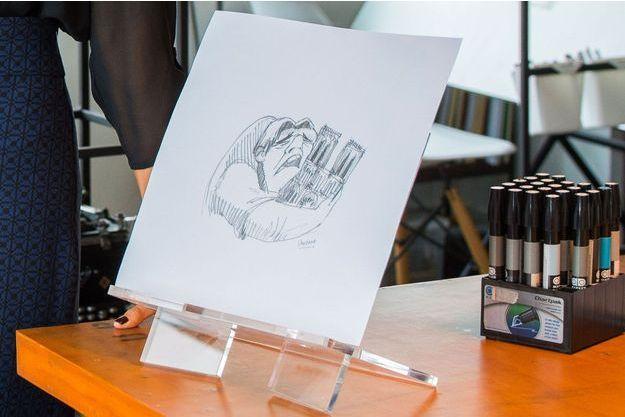 Le dessin de Cristina Correa dans son atelier, à Guayaquil, en Equateur.