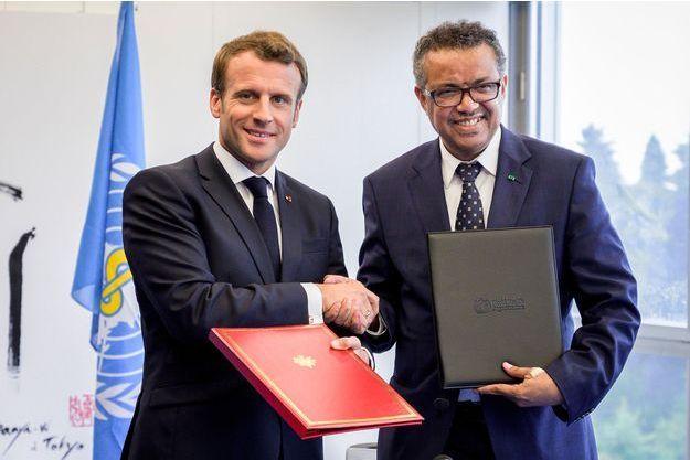 Emmanuel Macron et le directeur de l'OMS Tedros Adhanom Ghebreyesus.