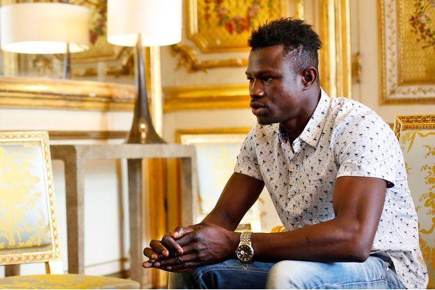 Mamoudou Gassama à l'Elysée, lundi.