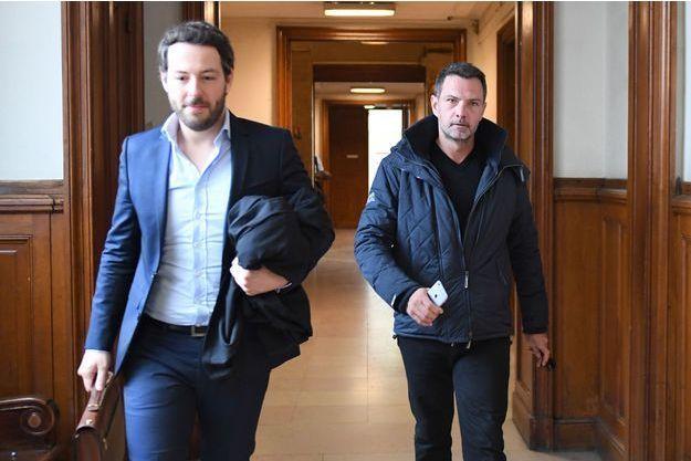 Jérôme Kerviel et son avocat Julien Dami Le Coz, en juin 2018 à Paris.