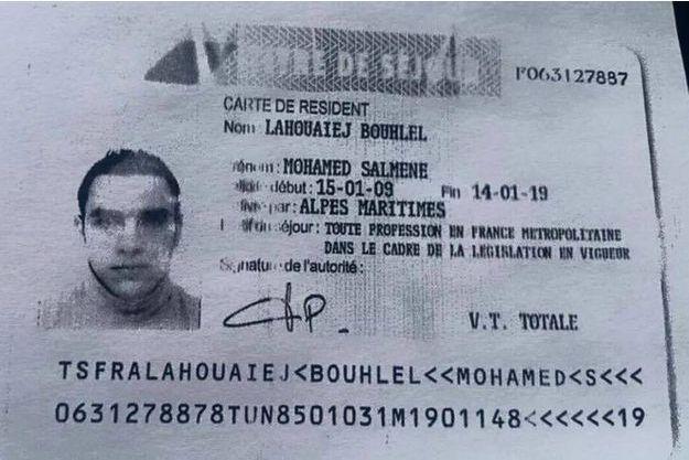 Une copie de la pièce d'identité de Mohamed Lahouaiej-Bouhlel, le terroriste qui a tué 84 personnes à Nice le 14 juillet.