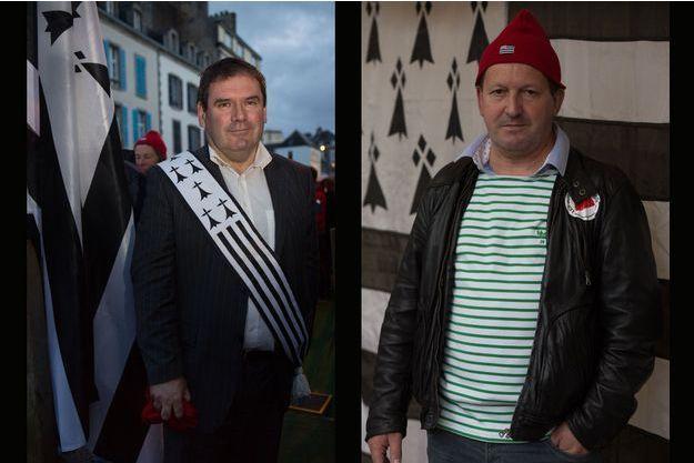 Christian Troadec, le maire de Carhaix (29), divers gauche, d'un côté, et Thierry Merret, à la tête de la FDSEA- Finistère, proche du Medef, de l'autre