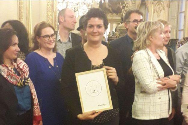Astrid Plouzennec lors de la remise du prix au Sénat le 1er avril 2019.