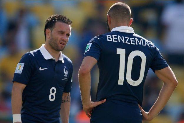 Mathieu Valbuena et Karim Benzema en Bleus lors de la Coupe du Monde en 2014.