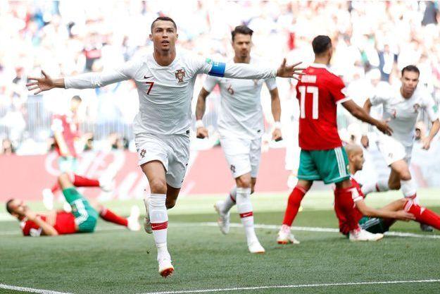 Cristiano Ronaldo après son but mercredi contre le Maroc.