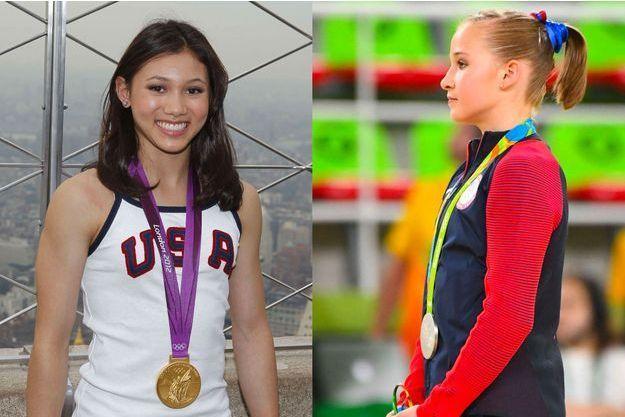 Kyla Ross en août 2012 et Madison Kocian en août 2016.