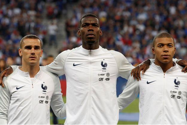Antoine Griezmann, Paul Pogba et Kylian Mbappé, les joueurs les plus chers de l'équipe de France.