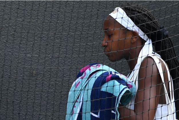 Cori Gauff, éliminée par Simona Halep à Wimbledon.