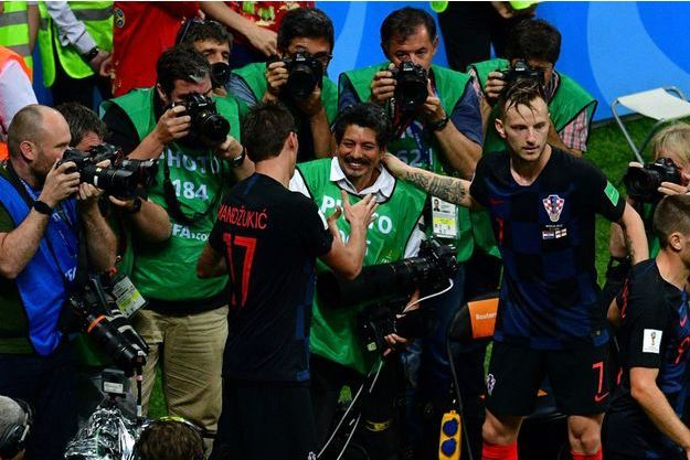 Yuri Cortez, le photographe de l'AFP lors du match entre la Croatie et l'Angleterre.