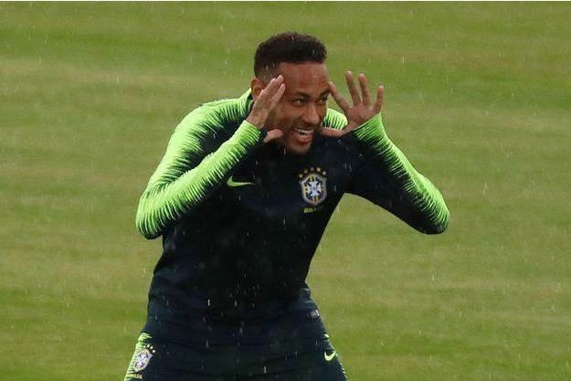 Neymar lors de l'entraînement du Brésil.
