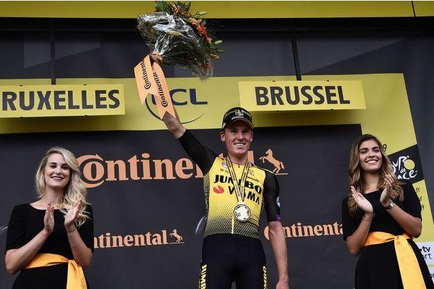 Mike Teunissen, maillot jaune de la première étape du Tour de France.