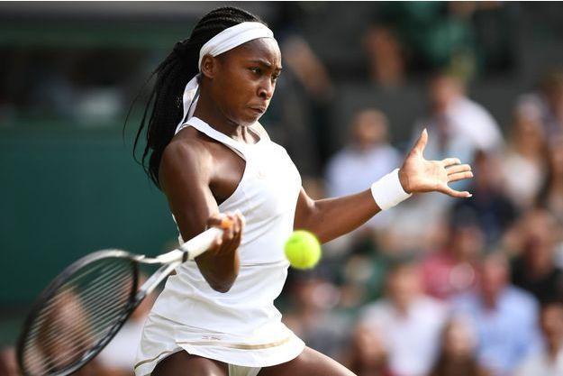 Cori Gauff face à la Slovène Polona Hercog, le 5 juillet 2019 à Wimbledon.