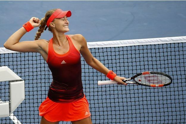 Kristina Mladenovic célèbre sa victoire à l'US Open.