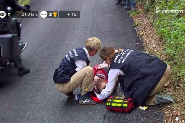 Richie Porte, quelques secondes après la chute.
