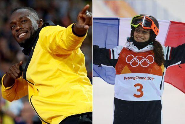 Perrine Laffont et Usain Bolt.