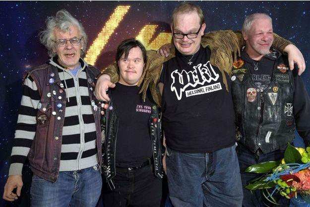Le groupe finlandais PNK après l'annonce de leur sélection pour l'Eurovision, le samedi 28 février.