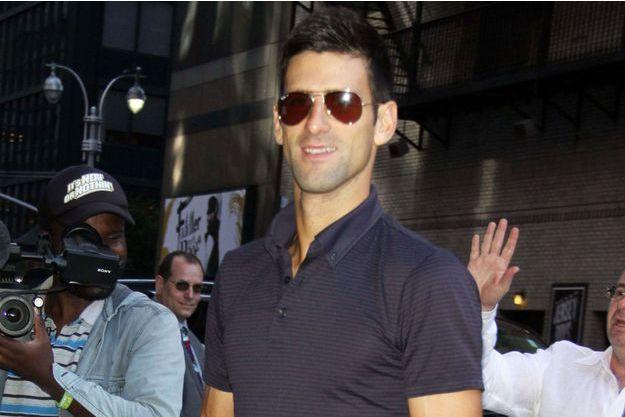 "Novak Djokovic se rend à l'émission ""The Late Show"" lundi 14 septembre."