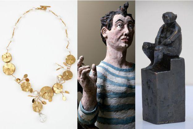 Un collier de Nadia Zeineh, un autoportrait de Pablo Castillo et une oeuvre de Mohamed Omrane.