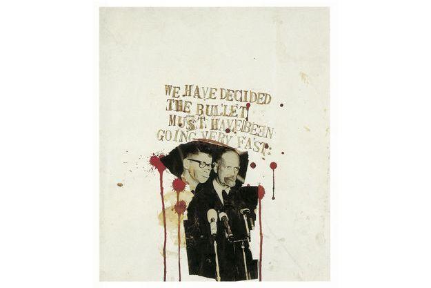 « We have decided the bullet must have been going very fast », 1979-1980. Basquiat revisite le meurtre de Kennedy en se moquant de la commission Warren : « Nous avons conclu que la balle a dû aller très vite »...
