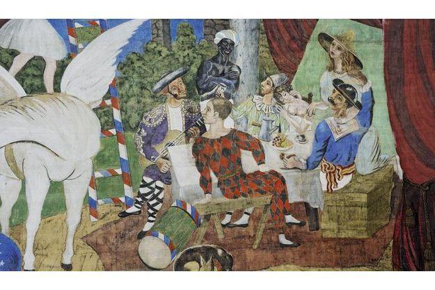 Peinture à la colle de peau sur toile 10,50 x 16,40 mètres : six personnages se restaurent quand surgit Pégase, un animal mythique. A l'arrière-plan, un paysage évoquant l'Italie, où Picasso séjourne alors.