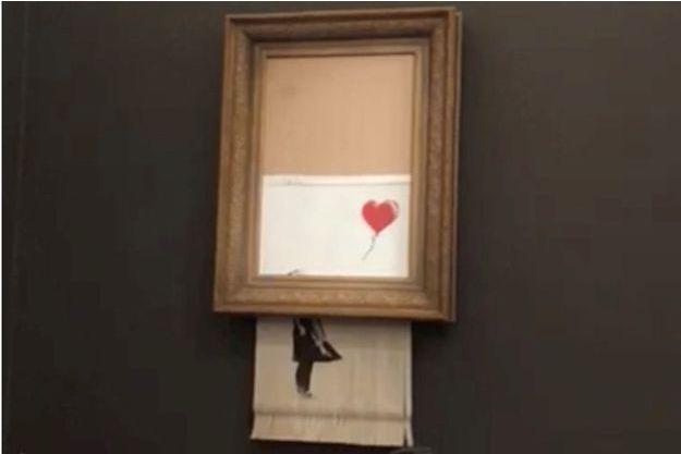 L'oeuvre de Banksy s'était partiellement auto-détruite juste après avoir été adjugée pour plus d'un million d'euros.