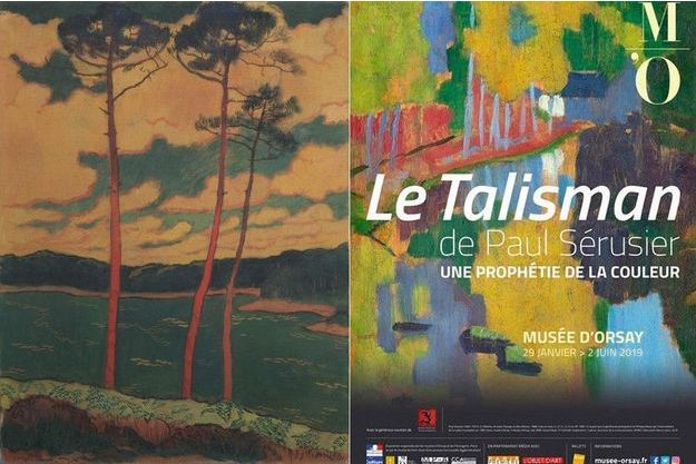 A g. : « Les pins rouges », de Georges Lacombe. A d. : l'affiche de l'exposition.