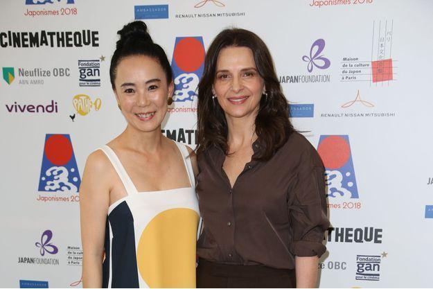 Naomi Kawase et Juliette Binoche à la Cinémathèque de Paris.