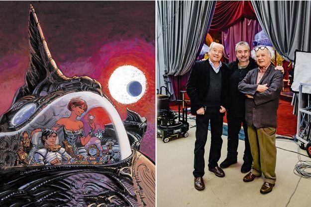 Luc Besson, ici entouré de Jean-Claude Mézières (à g.) et de Pierre Christin, laisse entrevoir, en exclusivité, les décors de son film événement tourné à la Cité du cinéma de Saint-Denis.