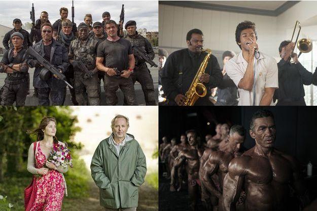 """De haut en bas et de gauche à droite, """"The Expendables"""", """"Gemma Bovary"""", """"Get on Up"""" et """"Bodybuilder""""."""