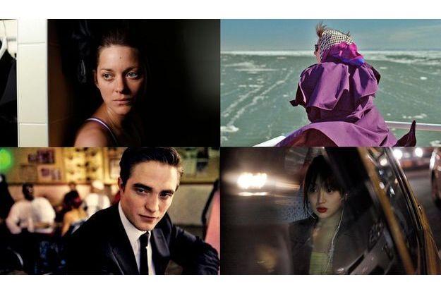 """De haut en bas et de gauche à droite, des photos de """"De rouille et d'os"""", """"Laurence Anyways"""", """"Cosmopolis"""" et """"Like Someone in Love""""."""