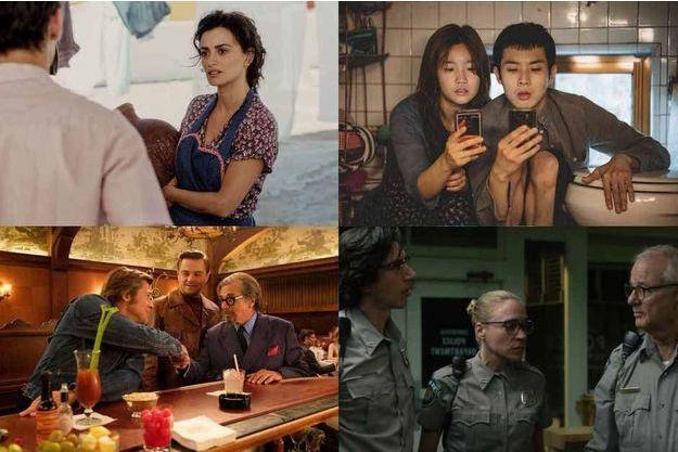 De gauche à droite, de bas en haut, «Douleur et gloire» de Pedro Almodovar, «Parasite» de Bong Joon-ho, «Once upon a time in Hollywood» de Quentin Tarantino et «The Dead Don't Die» de Jim Jarmusch.
