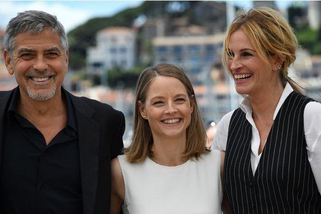 """George Clooney, Jodie Foster et Julia Roberts lors de la conférence de presse de """"Money Monster""""."""